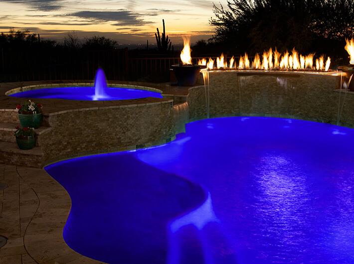 blue led pool light